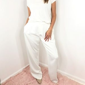 DEREK LAM 10 CROSBY White Wide Leg Trouser Pants